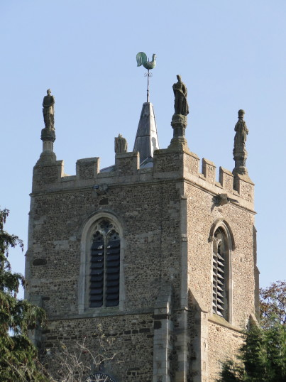 Four Statues on the Church Tower