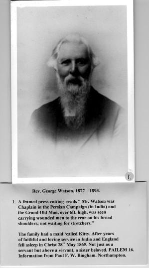 Rev George Watson 1877 - 1893