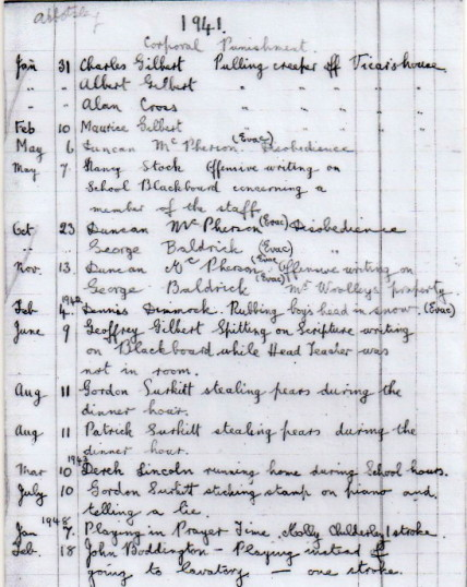 Abbotsley School Corporate Punishment Record 1941-1948