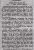 Sudden death of James Staughton