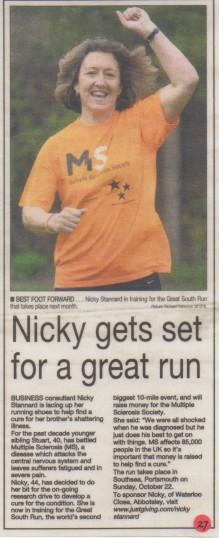 Nicky gets set for a great run