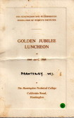Golden Jubilee Luncheon menu