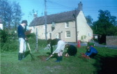 Planting bulbs on Eight Bells corner
