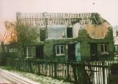 Three cottages during demolition