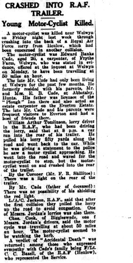 Death of Ted Cade  in 1929