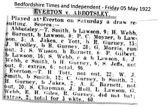 Cricket Abbotsley v Everton 1922