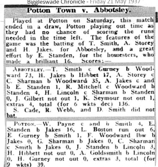 Cricket Abbotsley v Potton 1937