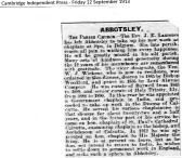 Reverend Lawrence leaves Abbotsley in 1913