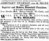 Auction of Vicarage furniture 1855