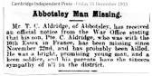 Death of Charles Aldridge in 1915