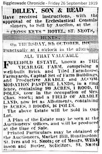 Auction Sale of Vicarage Farm in 1919