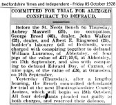 Conspiracy to Defraud in Fen End in 1928