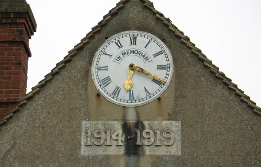 Burrough Green - Memorial clock honouring the dead of the First World War incorporated into the new school classroom built 1919