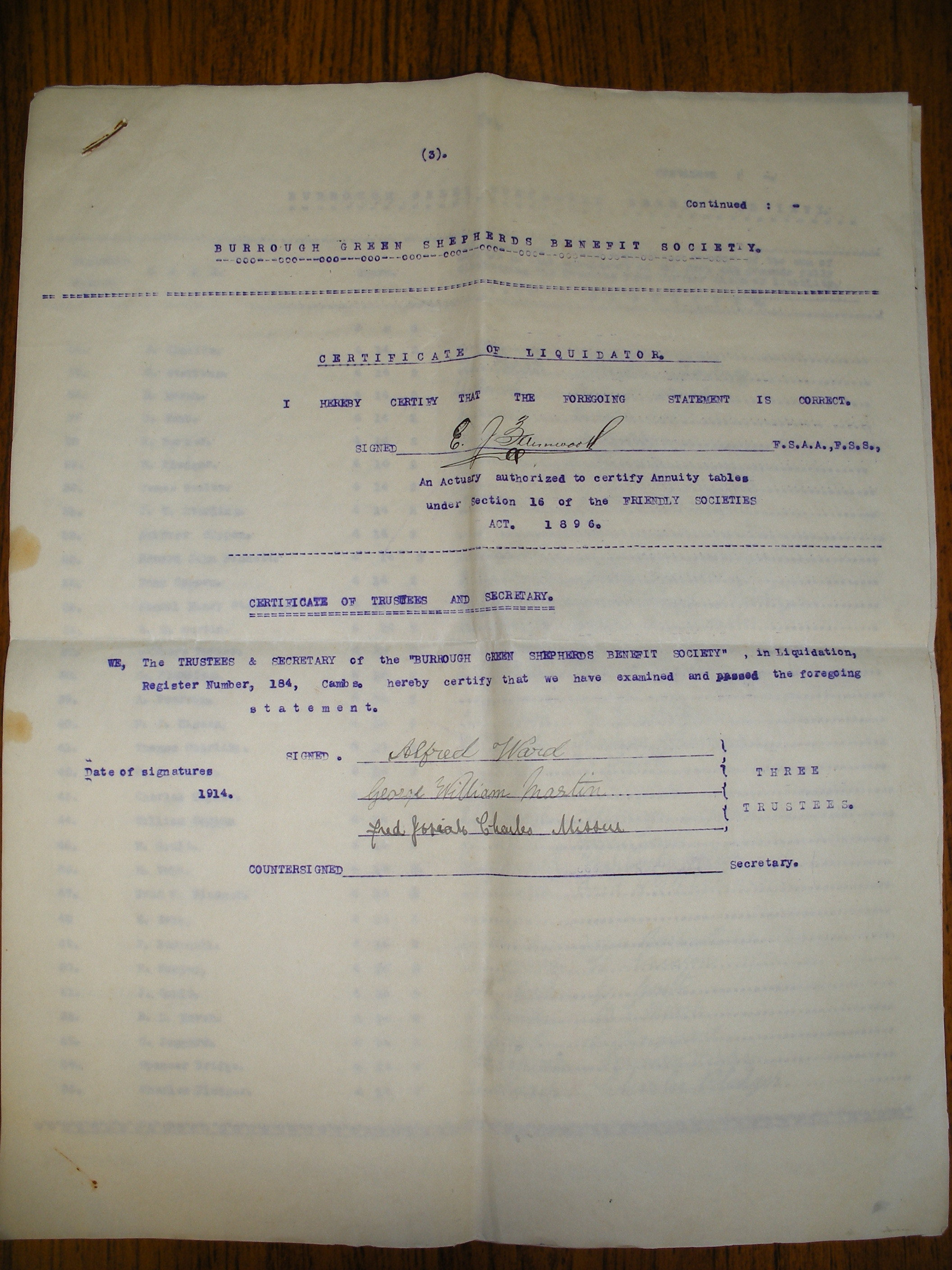 Burrough Green Front Sheet Of Certificate Of Dissolution Of