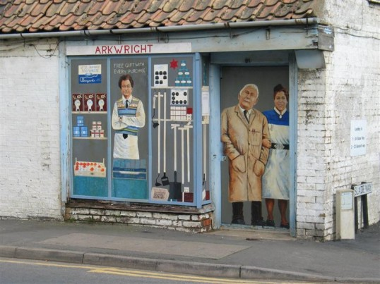 Front of disused shop on corner of High Street and Slade Way, Chatteris.