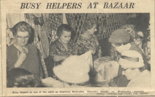 From a cutting from The Chatteris Advertiser. The 'sewing stall' at the Methodist Church Bazaar, 1961, held in the Palace.