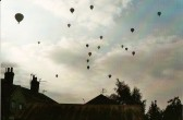 Balloons over the rear of Clare Street, Chatteris, having risen somewhere close behind Stainless Metalcraft.