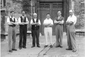 Bellringers Russell Paul ;Stan Murphy ; Arthur Abrams ;Wilfred Young ;Dudley Paul ;William Seekings of Coronation peel at Saint Peter's , Chatteris.. Ely Diocesan Association coronation peal