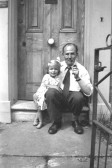 Rev T.S. Collins, Minister of New Road Methodist Chapel, Chatteris  1949-54 with his daughter at the Manse