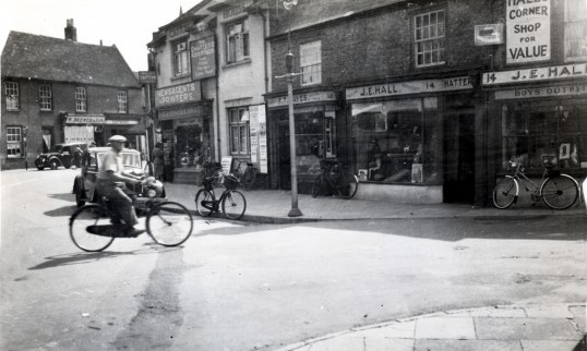 High Street, Chatteris towards Market Hill. King Edwards Road on right