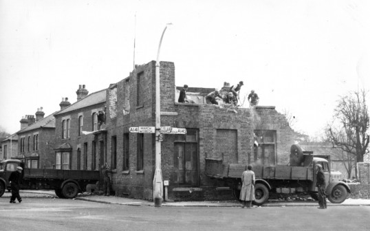 Demolition of Doctor Nix house on corner of Church Lane and East Park Street, Chatteris. Chatteris museum photo.(See 1950 and 2008 Market Hill photos)