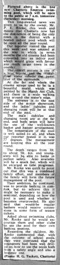 Newspaper cutting report on opening of Chatteris Empress swimming pool in the old Cinema building, Chatteris museum cutting from unnamed newspaper.