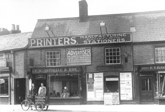 F H Aspinalls, Printers shop at 10 High Street Chatteris. Photo part of Grahame Aspinall collection in Chatteris museum.