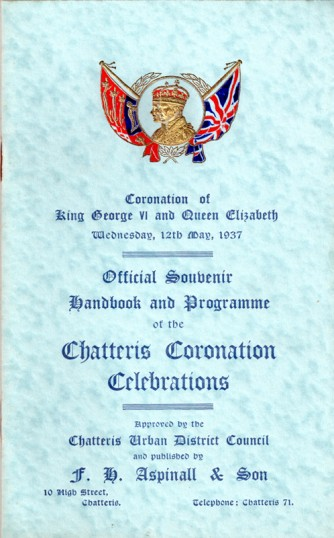 Coronation Souvenir handbook printed by F H Aspinall of Chatteris & advertised in accompanying photo. See similar item in 1953. Chatteris museum item.