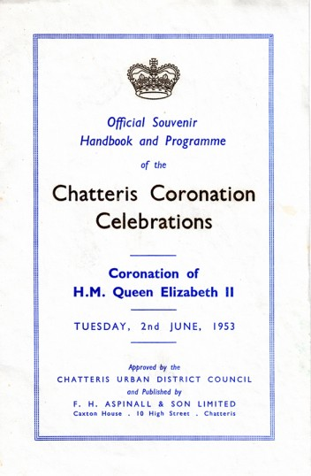 Coronation Souvenir Handbook printed by F H Aspinall of Chatteris. Compare to similar item in 1937 photo. Chatteris museum item.
