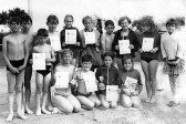 Pupils of King Edward school, Chatteris, with their Annual Swimming awards. Damaged photo from the D R Hall bequest collection.