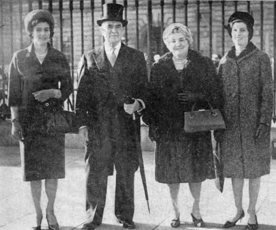 Arthur Rickwood with wife & daughters at Buckingham Palace after receiving his CBE award. Chatteris museum copy of news photo by Universal of London.