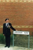 Bill Larham of Chatteris at the naming of the street in his honour. Chatteris museum photo. See also his DSM medal award in 1945 on this site.