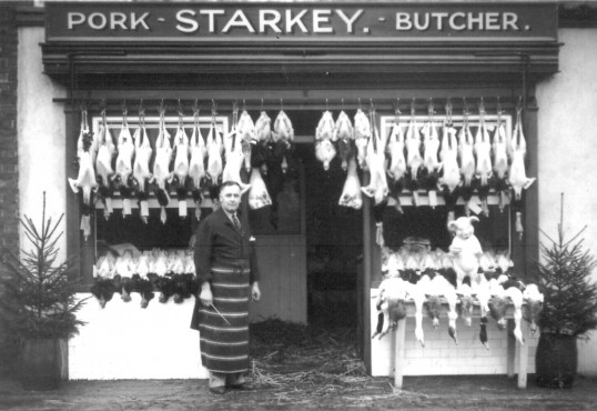 Starkey's butchers, Huntingdon Road, Chatteris. Demolished for widening of road for A141 bypass in 1983. Museum Photo. Date needs confirmation.