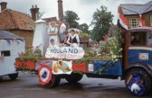 """Holland "" float in Chatteris Coronation Celebration parade. Maurice Kidd photo in Chatteris museum collection."