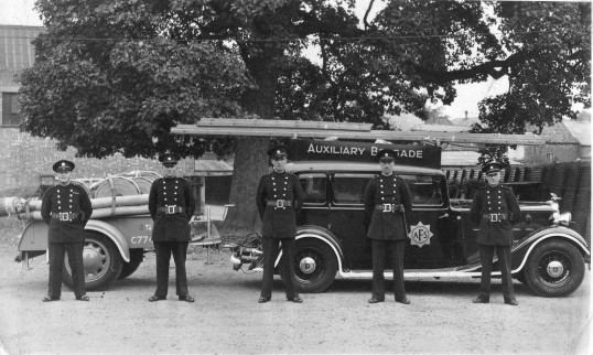Chatteris Auxiliary Fire Service men and vehicle during World War 2. Chatteris museum collection photo from P Murphy.