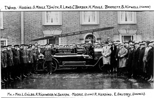 Inauguration of the first Chatteris motorised fire engine by Councillor Leonard Childs in Market Hill. Chatteris museum collection photo.