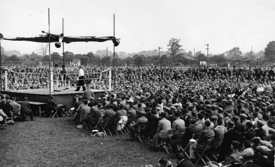 Outdoor boxing at West Street sports ground Chatteris. Local-boy champion Eric Boon fought here. Chatteris museum collection photo.