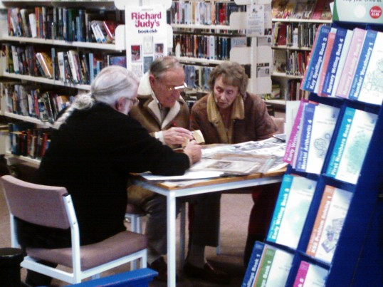 Gleaning valuable information from Chatteris residents, at the the Library on the Chatteris Community Archives' launch day. 10th November 2006.