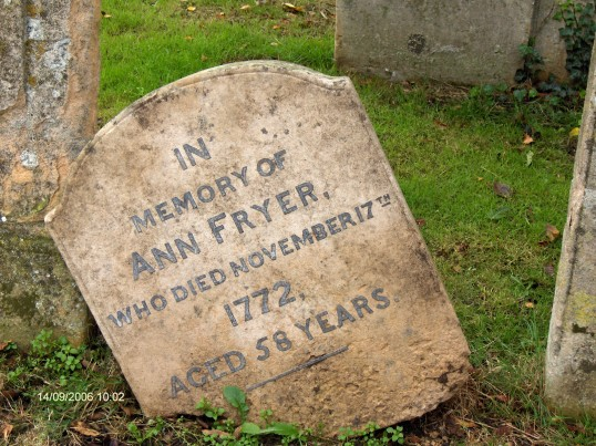 Headstone for Ann Fryer in Chatteris Churchyard - died on 17th November 1772.