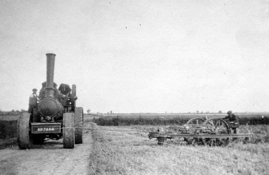 Steam  engine ploughing on fields outside Chatteris