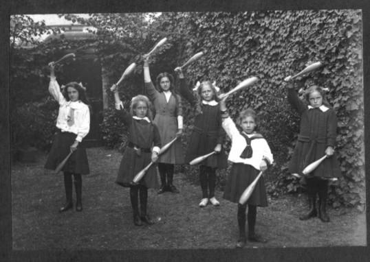 Linden School, Chatteris. Pupils exercising. Taken from Linden School brochure 1911.