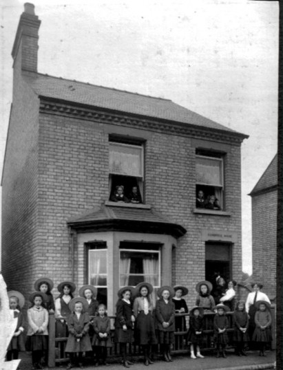 Linden School Boarders accommodation in Cambridge House,York Rd, Chatteris. Boarders at top windows.