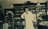 Mr G.C. Lawes inside Walkers Stores 40 High Street, Chatteris. He was Manager there from 1934 until it closed in 1963.
