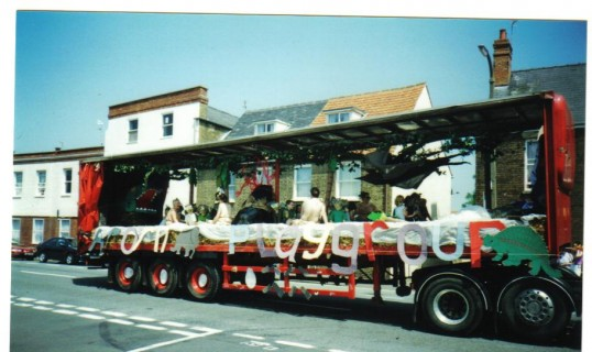 Acorn Playgroup float in the Chatteris Carnival Parade.  The playgroup was run from a