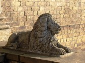 """Stone lion outside house  """"Park View"""" in Park street Chatteris."""