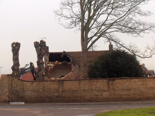 House on Staton Street, Chatteris, being demolished - formerly the site of Ivy House (also demolished  in 1955).