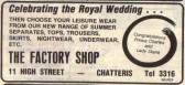 Advertisement for the Factory Shop, which later became First Choice Ladies Fashions, 11 High Stret Chatteris.