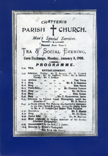 Programme for Parish Church Tea and Social Event held at the Corn Exchange,Chatteris.