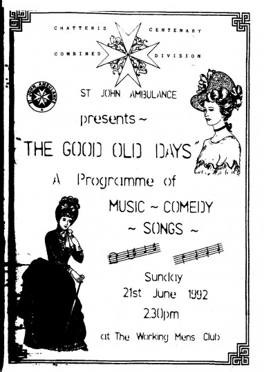 Programme for entertainment staged by Chatteris Division of the St John's Ambulance Brigade.