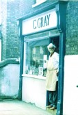 Grays Butchers, High street ,Chatteris. Mr Charlie Gray on doorstep. Photo kindly loaned by his widow Mrs Enid Gray.